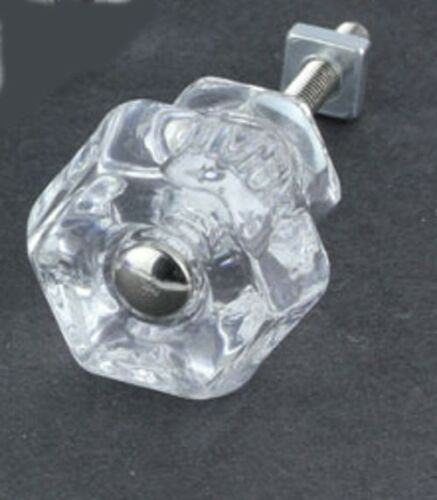 CLEAR Depression Glass Cabinet Knobs Drawer Pulls Antique Style Vintage Set Of 4