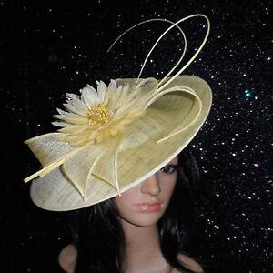 failsworth pale lemon wedding ascot fascinator hat disc