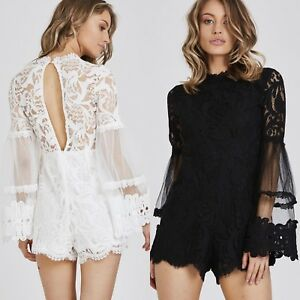 New-Women-Ladies-Summer-Bell-Sleeve-Floral-Lace-Print-Playsuit-Jumpsuit