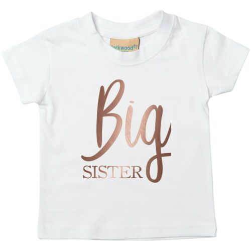 Rose Gold Big Sister Toddler T-Shirt Printed Pregnancy Reveal Party Girls Top