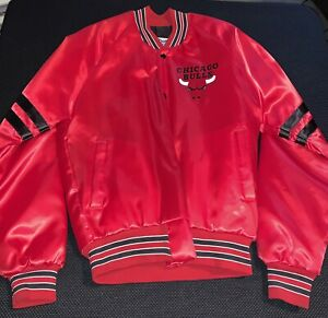 8b746ad985b6ca Vtg 80s CHiCAGO BULLS red CHALK LiNE JACKET Size- S satin NBA ...