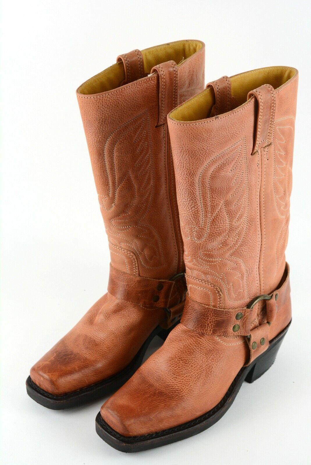 FRYE Women's Sz 6 M Tan Leather Eagle Stitch Squa… - image 1