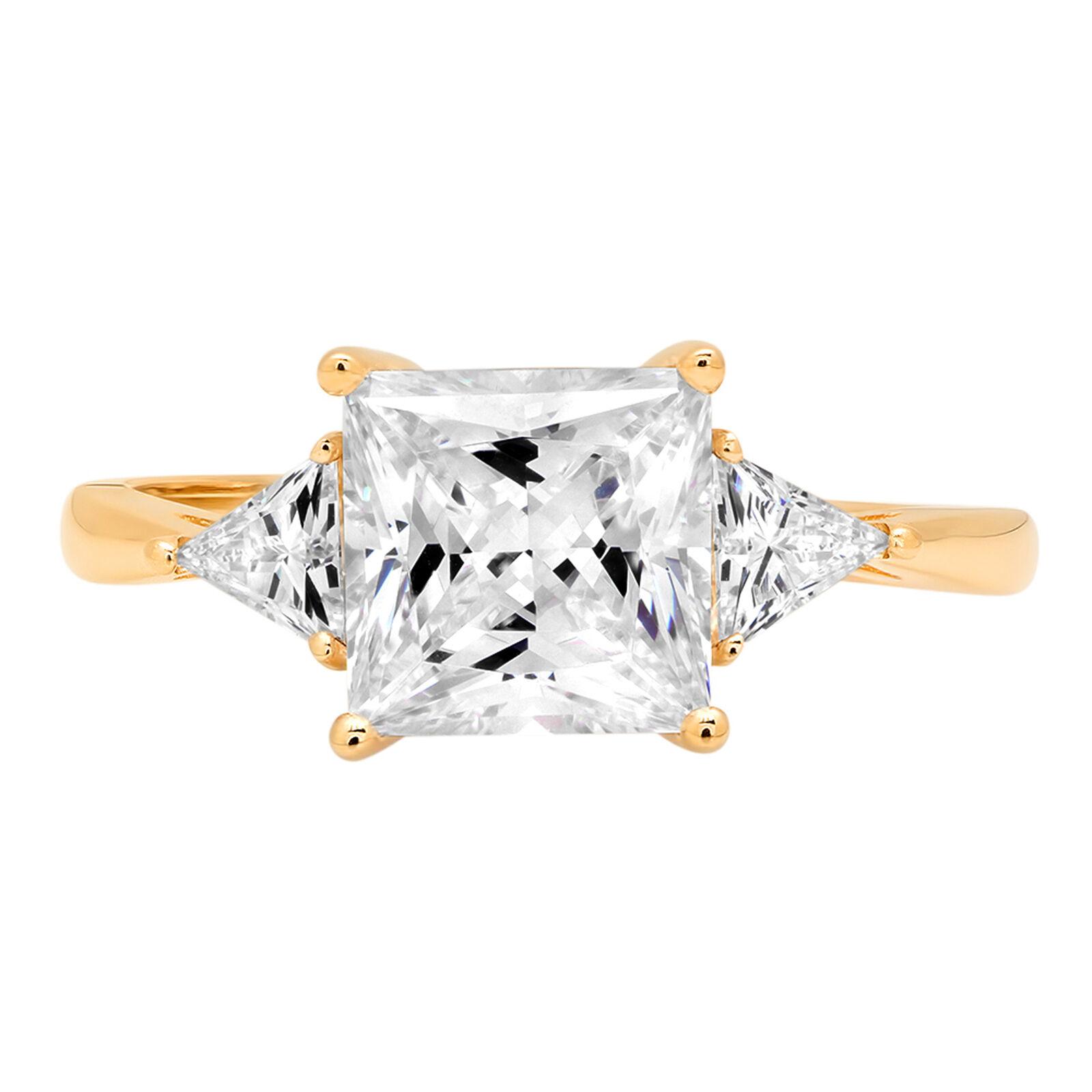 2.40 ct 3 3 Princess Trillion Cut Classic Engagement Bridal Ring 14k Yellow gold