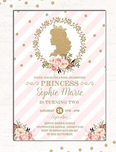 Image Is Loading PRINCESS Invitation Pink Gold Glitter First Birthday Invite
