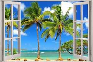 Huge-3D-Window-view-Exotic-Ocean-Beach-Wall-Sticker-Film-Art-Decal-Wallpaper-S74