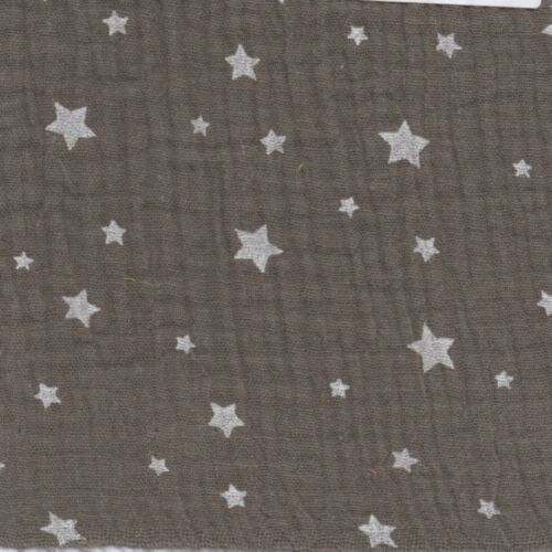 French 100/% Cotton STARS DOUBLE GAUZE Muslin Fabric Dressmaking Crinkle Nursery
