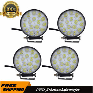 4X-48W-Runden-LED-Arbeitscheinwerfer-Offroad-Strahler-Flutlicht-Scheinwerfer-LKW
