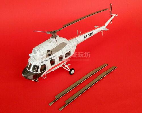 1:33 Scale Polish Mi-2 Transport Helicopter DIY Handcraft PAPER MODEL KIT