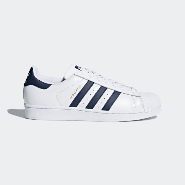 premium selection d8533 b6caf Adidas Superstar Sneakers White Blue Navy Sizes 7.5 - 9 Unisex 3 Stripes  CM8082