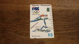 OLD-AUSTRALIAN-TELECOM-PHONECARD-5-1992-BARCELONA-OLYMPICS-SWIMMING