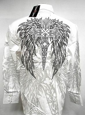 REBEL SPIRIT Winged Cross Woven Long Sleeve Shirt lsw110778 Embroidered applique
