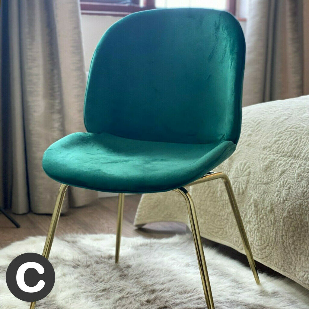 Luxury Dark Green Velvet Gold Legs Dining Chair Home Office Seat Piped Soft Ebay