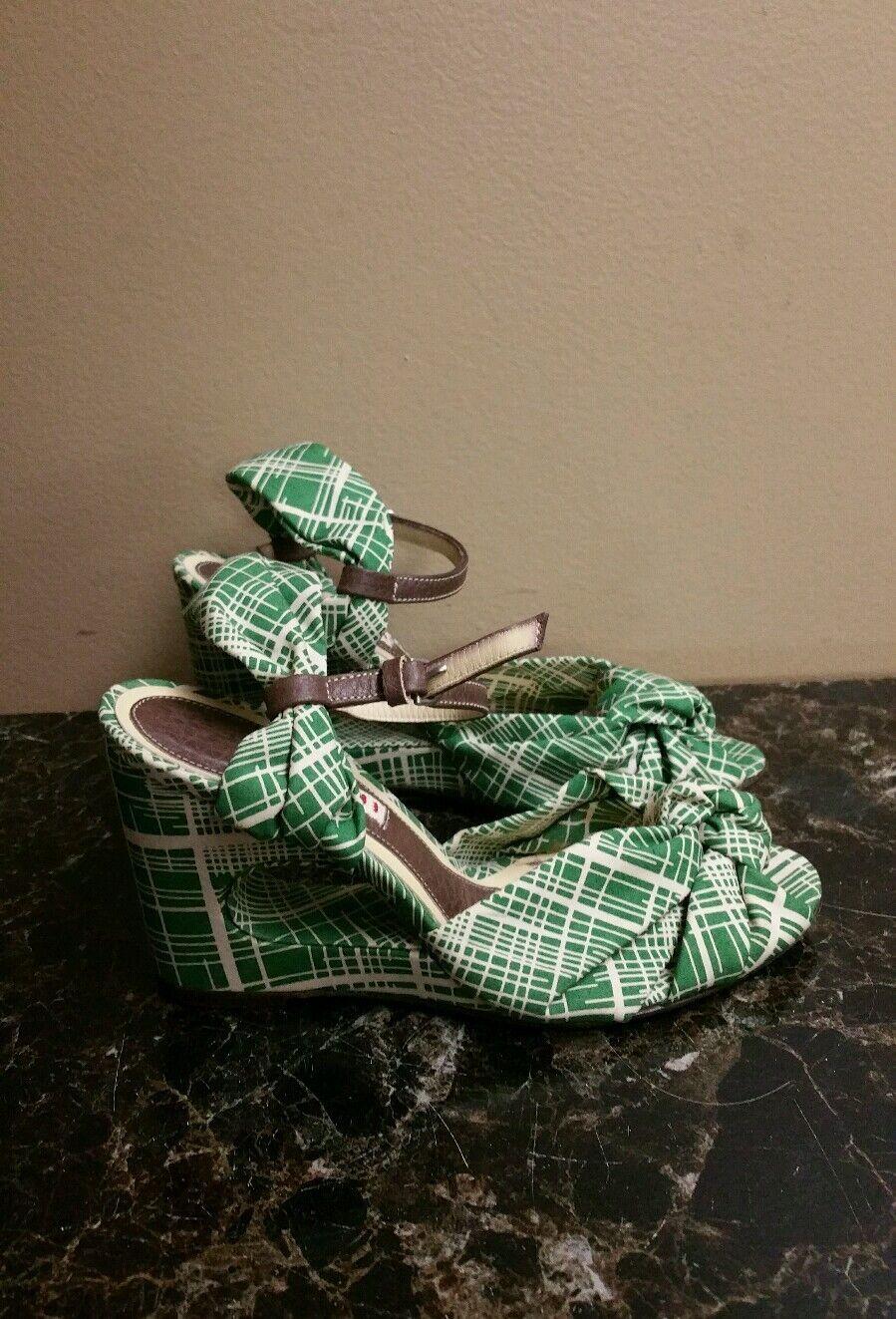 Marni Damenschuhe Green/Cream Wedges Heels Sz 36.5