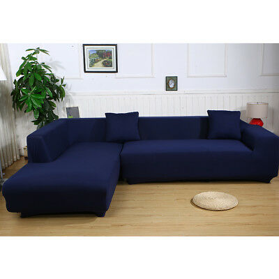 L Shape Stretch Elastic Sofa Cover Sectional Corner Couch Covers Slipcover  Blue | eBay