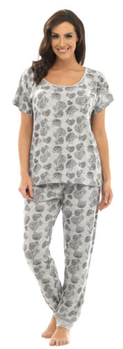 Ladies Wolf /& Harte Floral Print Polycotton Long Sleeve Pyjama pajama Lounge
