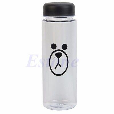 Cute Portable 500ML Clear My Bottle Sport Travel Plastic Fruit Juice Water Cup