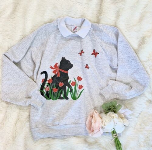 Vintage Collared Cat In Garden sweater