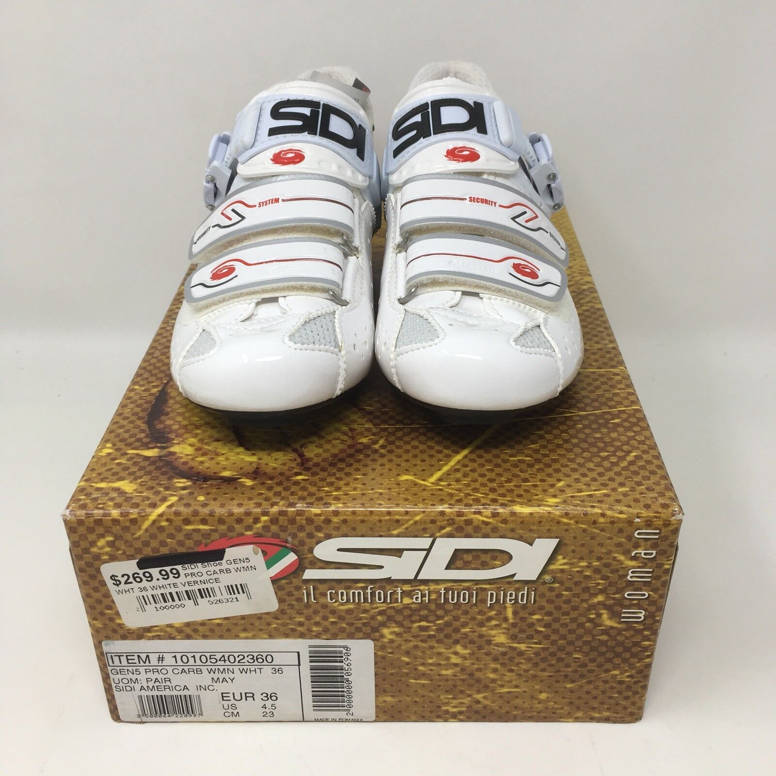 SIDI Genius 5 Pro Carbon Road Women's Road shoes  US 4.5 White NEW IN BOX