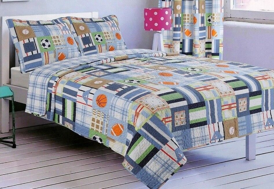 Twin Size 3 Piece Bedspread Set- Sports Theme- Includes Pillowcases-Brand New