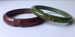 Vintage bakelite Bracelet Carved Bakelite Bangle Olive Green Bracelet