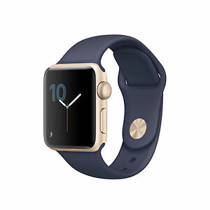 save off 3642e cf9ad Details about Apple Watch Series 1 38mm Gold Aluminum Case Midnight Blue  Sport Band -...