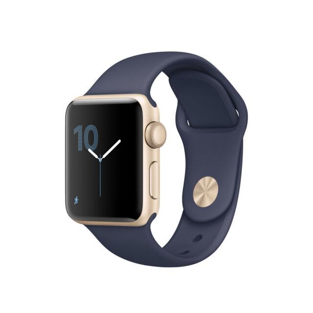 Apple Watch Series 2 38mm Gold Aluminum Case Midnight Blue Sport Band Mq132ll A For Sale Online Ebay