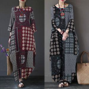 ZANZEA-Damen-Floral-Ethnic-Vintage-Kleid-Maxikleid-Lange-Kaftan-Rundhals-Kleider