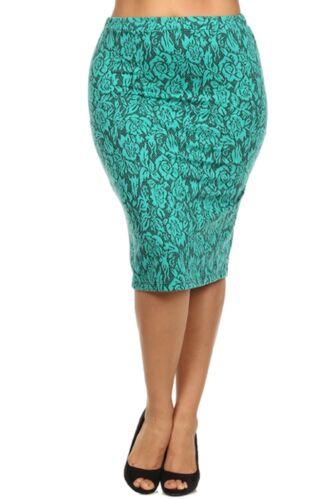 Plus Size Assorted Colors Floral Print Form Fitting Knit Midi Skirt L XL 2XL 3XL