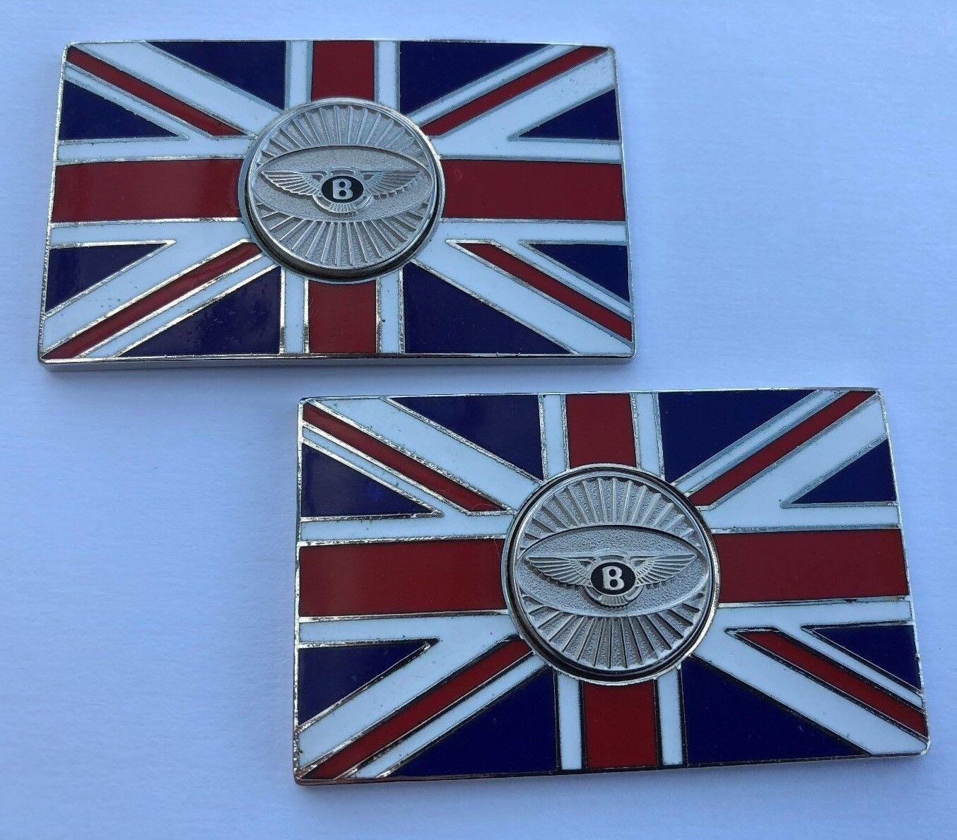PAIR Land Range Rover Union Jack Enamel Badge Self Adhesive