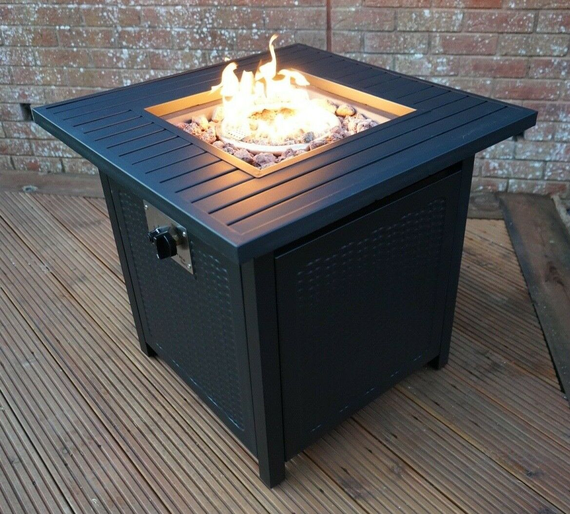 Gas Garden Fire Pit Outdoor Coffee Table Smokeless Stainless Steel Burner