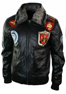 Mens Real Leather US Aviator Air Force Pilot Flying Bomber Jacket ...