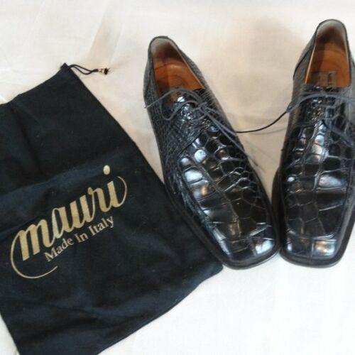 Mauri Black Crocodile Leather Print Oxfords -Size