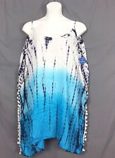 plus size swimsuits for all sexy tie dye boho swim COVERUP 14 16 blue v3