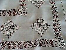 "Antique Linen Tablecloth 29"" Topper Hand Made Reticella Needle Lace C P Monogram"
