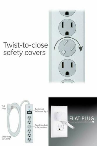 6 Outlet Surge Protector,Power Strip 800 Joules,Twist-to-Close Safety Covers.