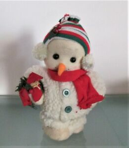 Rare Christmas Snowman, with music box, vintage, 11 inches