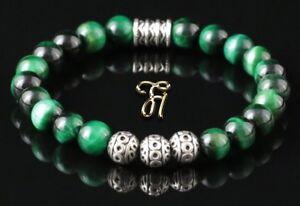 Tigerauge-gruen-Armband-Bracelet-Perlenarmband-Silber-Beads-8mm