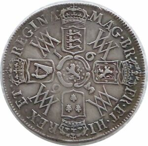 1693 Great Britain William and Mary Halfcrown Silver Coin 3/inverted 3