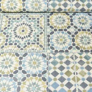 Moroccan Tile Teal White Blue Green Mosaic Wallpaper Kitchen