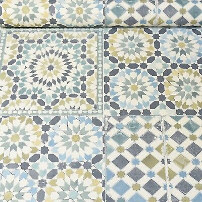 Moroccan Tile Teal White Blue Green Mosaic Wallpaper Kitchen Bathroom 118001 Uk Ebay