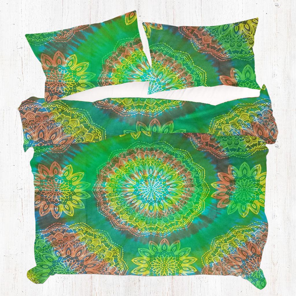 Tie dye Mandala Indian Duvet Doona Cover Throw Quilt Cover Boho Queen Bedding