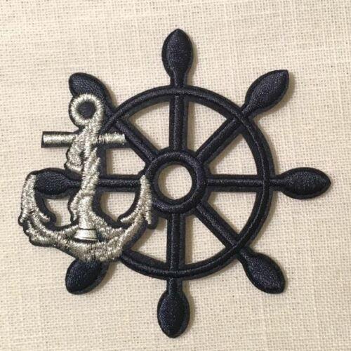 ÉCUSSON PATCH THERMOCOLLANT BARRE GOUVERNAIL Ancre 8,5 cm * Marine Argenté