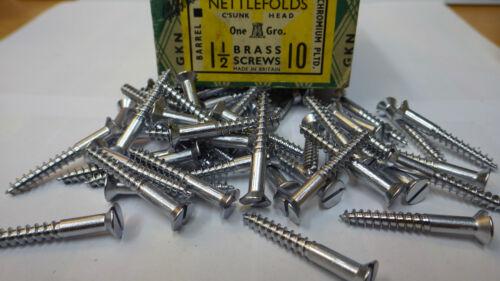 "20 x NETTLEFOLDS 1 1//2/"" x 10 CHROME ON BRASS COUNTERSUNK SLOTTED WOOD SCREWS"
