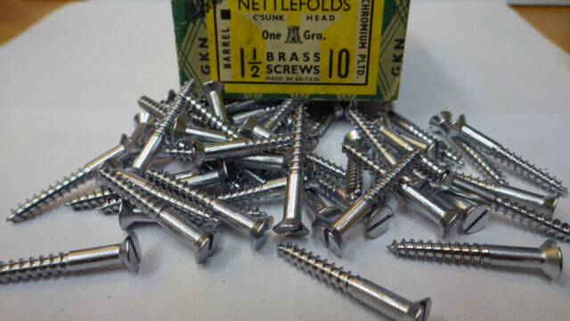 "Woodscrews 1½/"" x 8 pk 12 Chrome Round Head Brass Slotted Wood screw GKN"