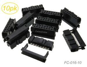 10 Pack 16 Pin 2x8 Female Idc 2 54mm Pitch Connectors For Flat Ribbon Cable Ebay