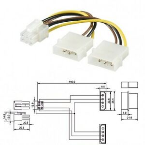 STROM-GRAFIKKARTEN-ADAPTER-2-x-4POL-AN-6POL-PCI-EXPRESS