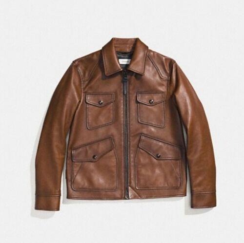 Coach leather jacket men