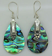 Abalone Shell (New Zealand Paua) Pear Drop Dangle Earrings in 925 Steling Silver