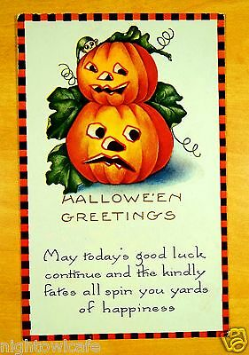KINDLY FATES Pumkins Black & Orange Check Border HALLOWEEN Whitney Postcard 1924