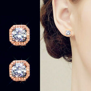 Details About Rose Gold Crystal Square Stud Earrings 925 Sterling Silver Womens Jewellery Gift